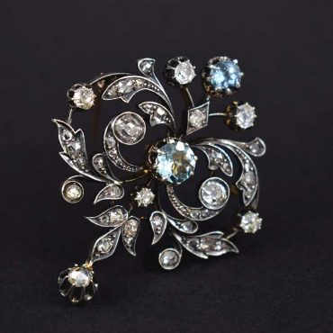 Diamond Aquamarine Pin Brooch Pendant