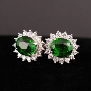 Chrome Diopside & Diamond Cluster Earrings