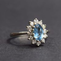 Aquamarine & Diamond Cluster Ring
