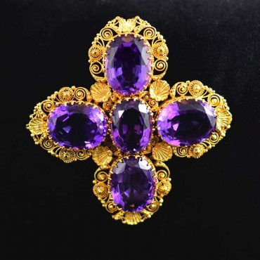 Georgian Amethyst Gold Cross Brooch Pendant on Black