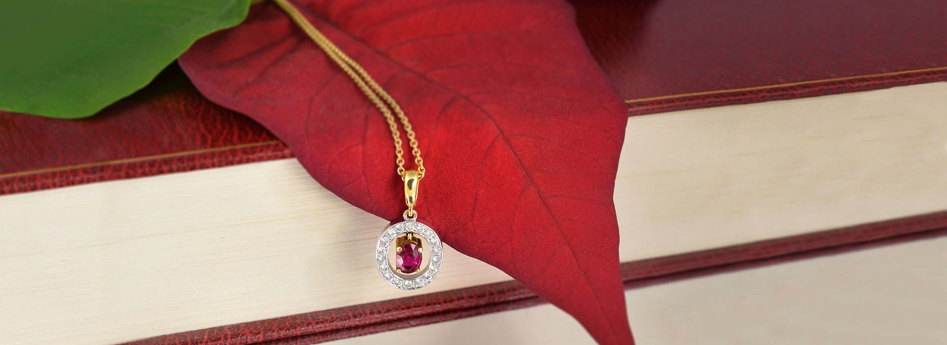 Ruby Diamond Necklace Gold Books Leafs
