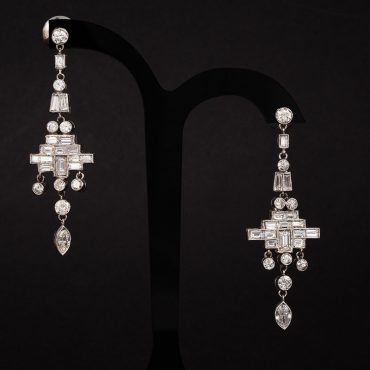 Art Deco Diamond Drop Dangle Earrings