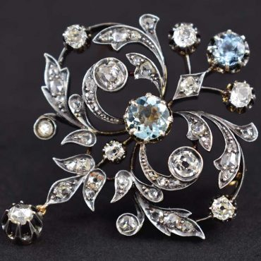 Victorian Diamond & Aquamarine Brooch/Pendant