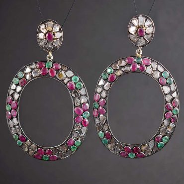 Ruby, Emerald, & Rose Diamond Earrings