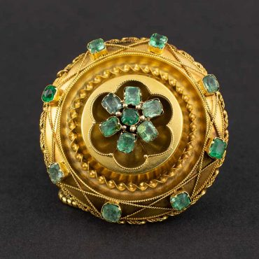 1850's Gold & Emerald Locket Brooch
