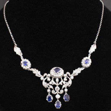 Diamond & Sapphire Art-Deco Necklace