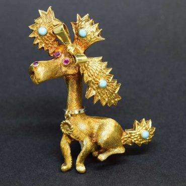 Retro Gold French Poodle Brooch