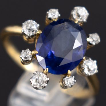 Sapphire & Diamond Gold Art Deco Ring