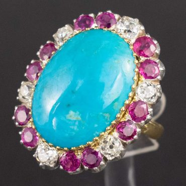 10.00ct Persian Turquoise, Burmese Ruby, & Diamond Ring