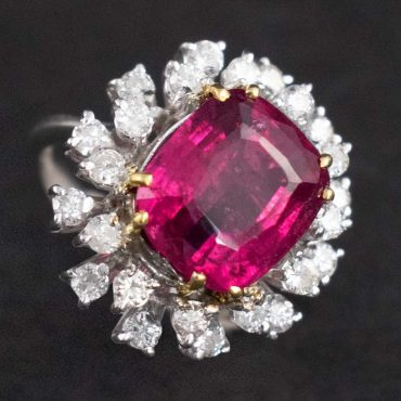 1960's Ruby (1.00ct) & Diamond Spiked Ring