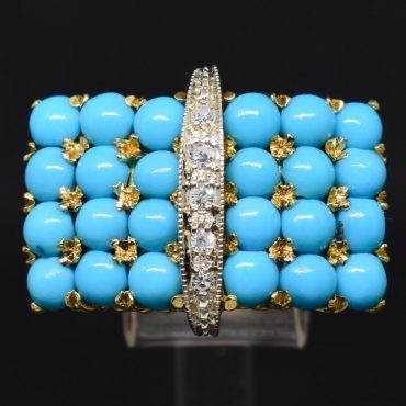 Persian Turquoise & Diamond Gold Ring
