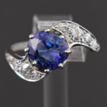 3.50ct Sapphire & Diamond Art Deco Twist Ring
