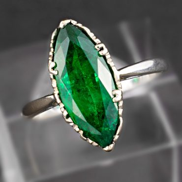 Marquees-cut Emerald Single Stone Ring