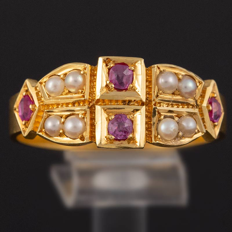 Natural Pearl & Ruby Victorian Gold Ring
