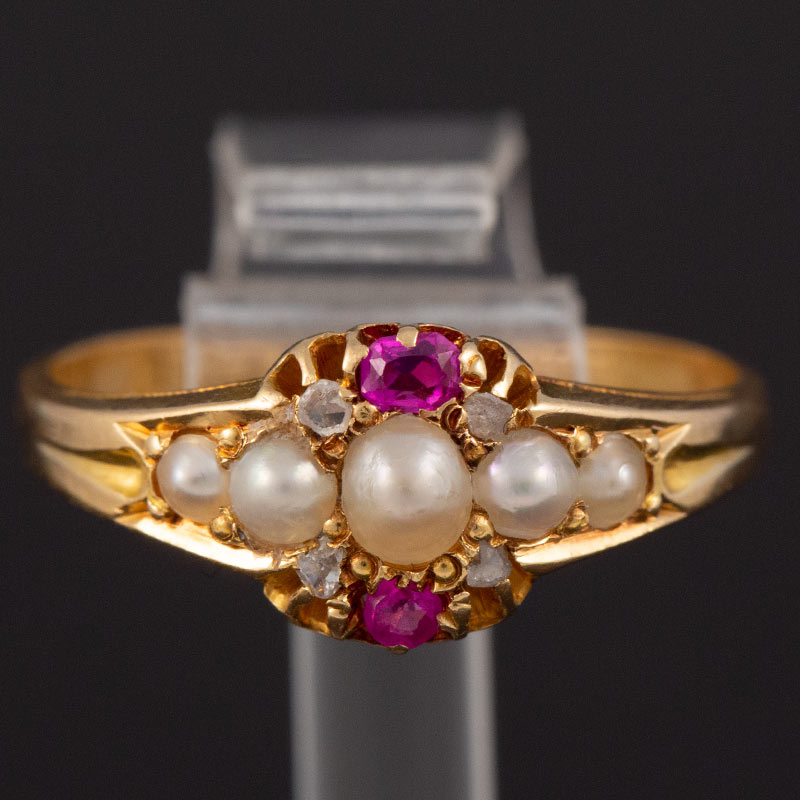 Natural Pearl, Diamond. & Ruby Victorian Ring