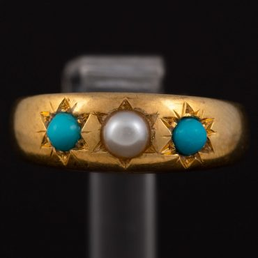 Natural Pearl & Turquoise Gold Victorian Ring