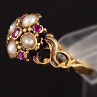 Natural Pearl & Ruby Victorian Ring