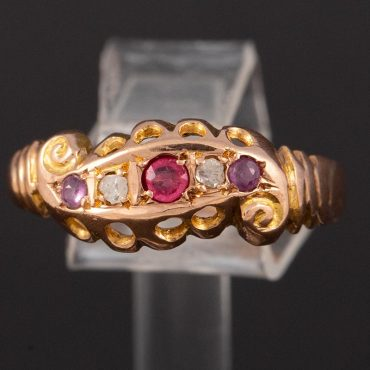 Spinel & Diamond Victorian Ring