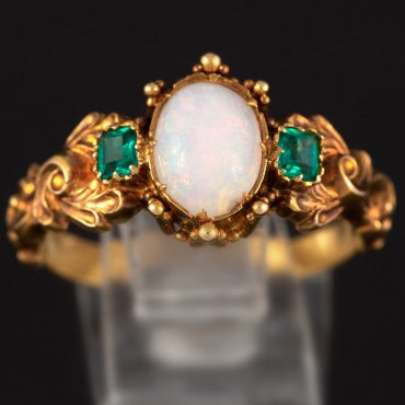 Opal & Emerald Victorian Gold Ring