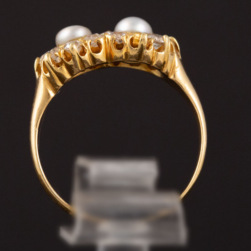 Natural Pearl & Diamond Double Cluster Ring