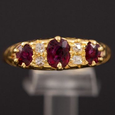 Ruby & Diamond Victorian Half-Hoop Ring