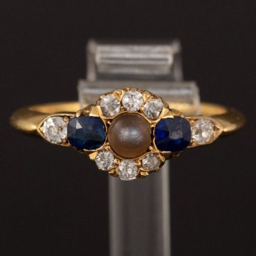 Natural Black Pearl, Diamond & Sapphire Victorian Ring