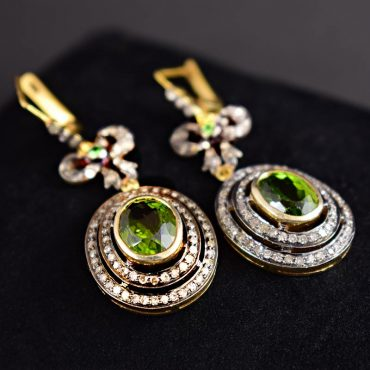 Victorian Peridot & Diamond Earrings