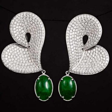 Jade & Diamond Earrings